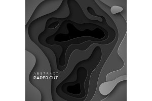 Black paper cut shapes