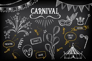 Carnival doodle icons