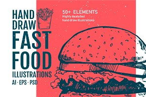 50+ Hand Drawn Fast Food Elements