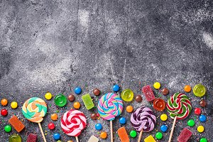 Assortment of colorful candies and