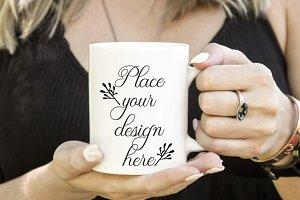 Girl woman holding coffee mug mockup