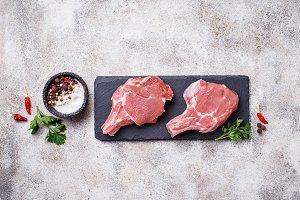 Raw meat on slate board
