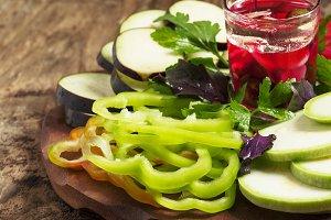 Sliced vegetables, selective focus