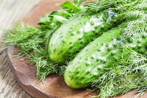Fresh  cucumbers with parsley and di