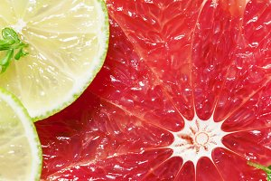 Sliced grapefruit, lemon, lime and m