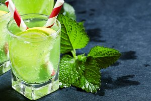 Mint soda with lemon and lime, selec