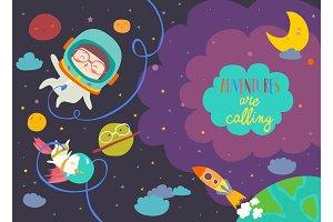 Girl astronaut with her unicorn