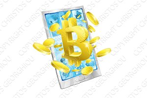 Mobile Phone Bitcoin Coins Concept
