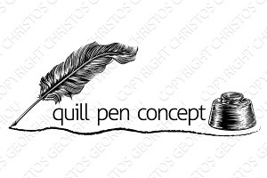 Quill Pen Feather and Inkwell