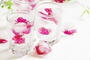 Fresh sparkling beverage with ice wi