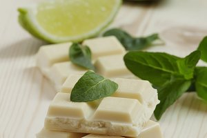 White chocolate with mint and lime,
