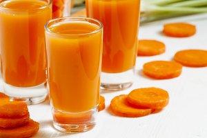 Fresh carrot cocktail glasses, selec
