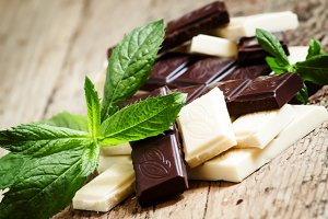 Delicious white and dark chocolate w