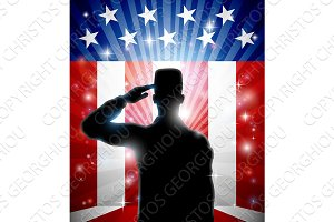 American Patriotic Soldier Saluting