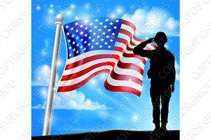 Patriotic Soldier Salute American