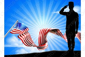 American Flag Soldier Saluting