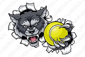 Wolf Tennis Mascot Breaking