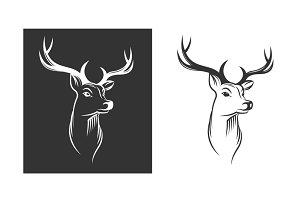 Deer head emblem set