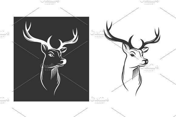 Deer Head Emblem Set