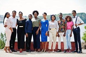 Group of ten african american people