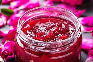 Homemade jam of rose petals