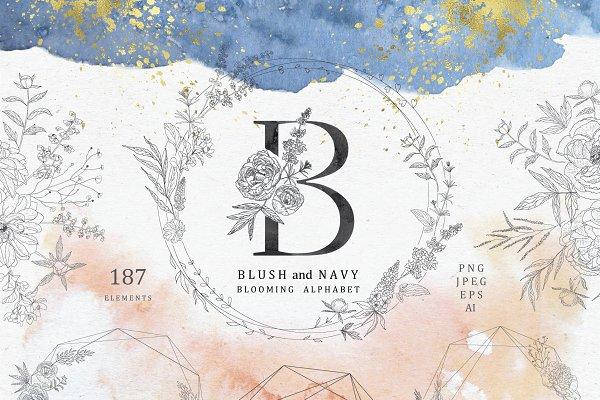 Blush & Navy. Blooming Alphabet