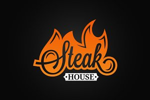 Steak logo flame vintage lettering.
