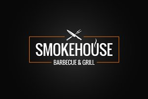 Smokehouse logo design on black.