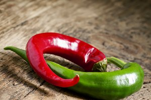 Red and green chili peppers, selecti