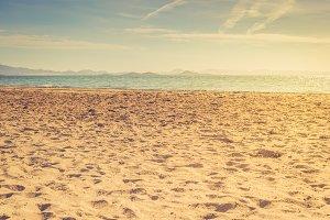 European sandy beach and blue sea