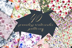 40 watercolor floral patterns