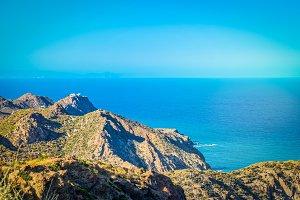 Mountain and blue sea, beautiful