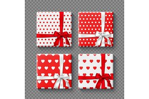 Set of 3d gift boxes with realistic