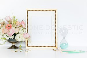 Styled Gold Frame - Mint Blush Pink
