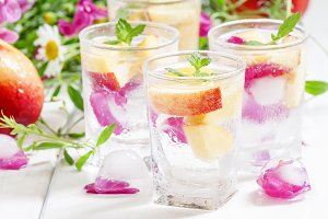 Fresh sparkling beverage with peache