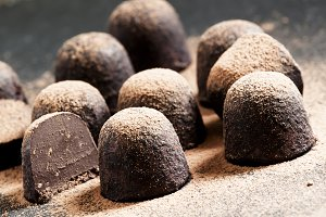 Homemade chocolate truffles with coc