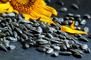 Sunflower seeds on black  background