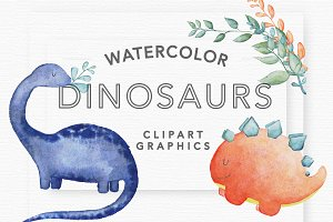 Watercolor Dinosaur Clipart Graphics