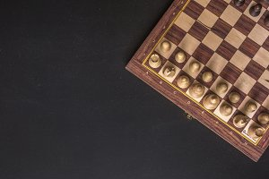 overhead copy space chess board on b