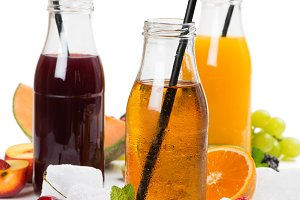 Fresh detox juices and summer fruits