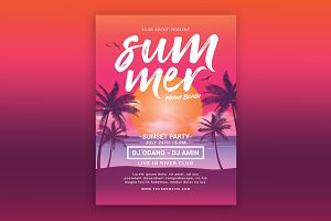 Summer Beach Sunset Flyer