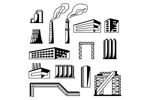 Industrial factory objects set.