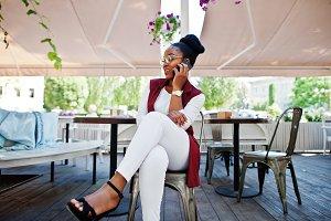 African american girl wear in glasse