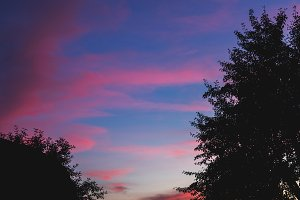 Sunset pink and blue sky