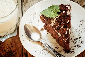Delicious chocolate cake on plate on