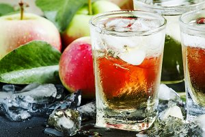 Cool refreshing apple juice with ice