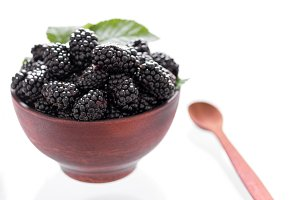 Berries and leaves of blackberry. Be