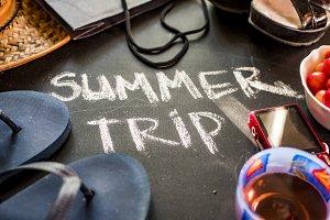 close up summer trip written text on