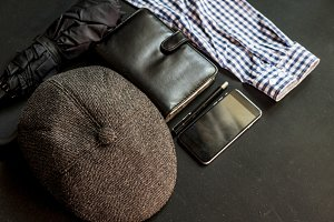 flat lay male traditional things on