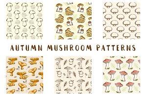 Vintage Autumn Mushroom Patterns